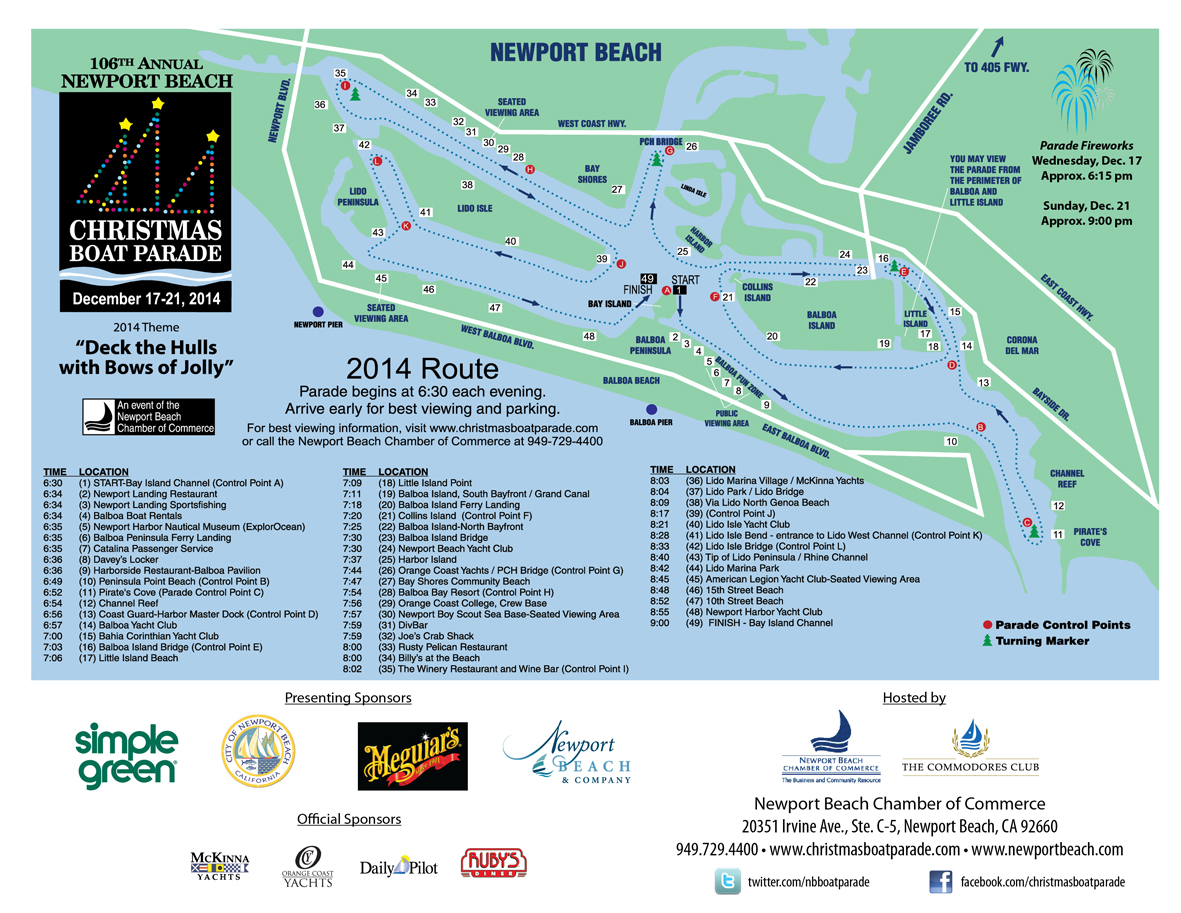 Boat Parade 2014 Route Map