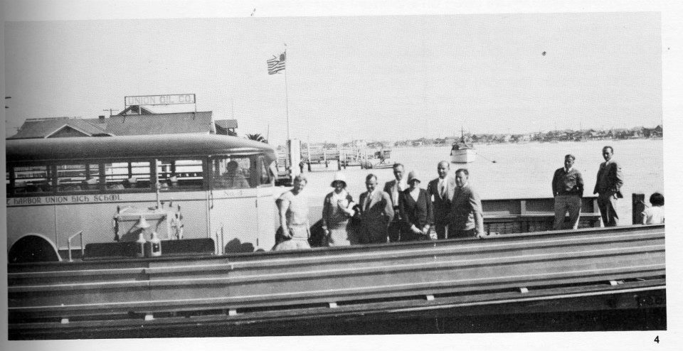Here's a great 1930 shot of the school bus and the Newport Harbor High School staff crossing the ferry. Great clothes!