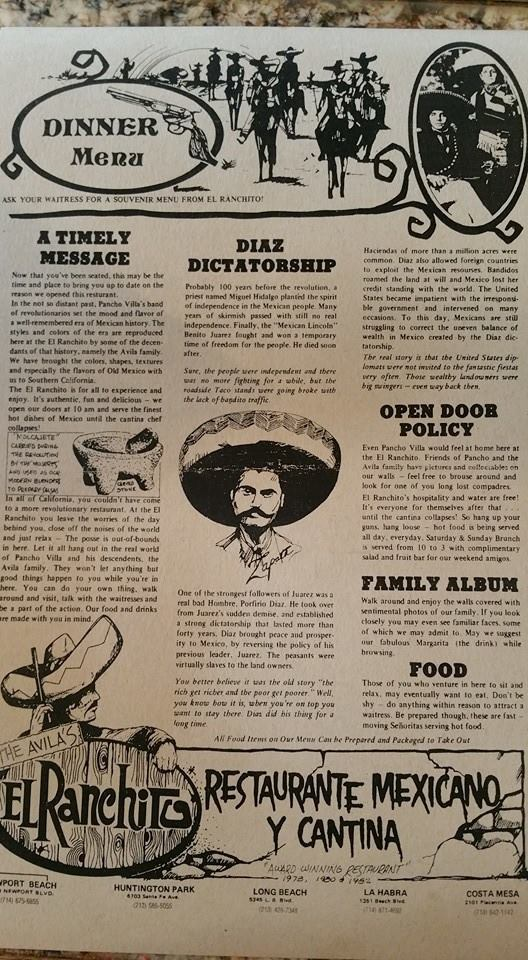 El Ranchito Menu 1